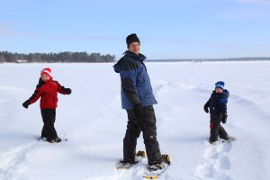snowshoeing on lake boys & father  2013 757