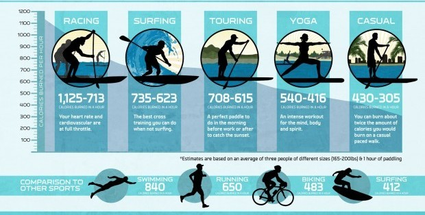 fitness chart comparing calories burned during different levels of sup