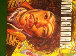 """This is the cover for the stamps, which are on the reverse. The USPS says, """"Jimi Hendrix (1942-1970) was one of the most important musicians of the 20th century. The stamp celebrating his legacy is being released as part of the Music Icons series."""""""