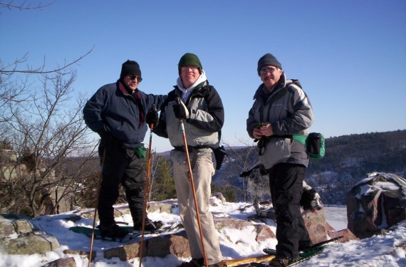 seniors snowshoeing in Wisconsin