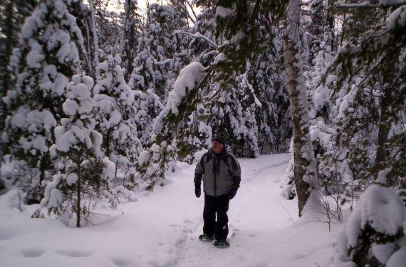 senior snowshoeing