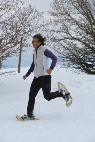 snowshoe racing, Judy Holmes wearing Maine Guide Snowshoes