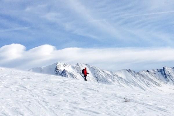 Exploring the beautiful terrain from Skoki Lodge (photo:  Alannah Jensen)