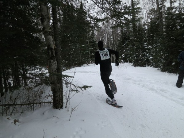 Hartmark completing final climb on his way to the finish, a steady slop downhill to the frozen lake