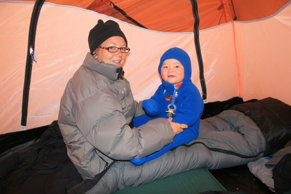 Bundled up for a cold night in the tent