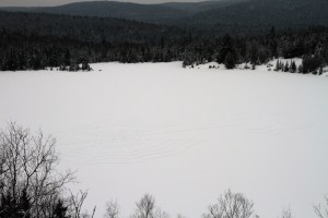 Our snow art creation on Lac Solitaire from above Jenn Smith Nelson