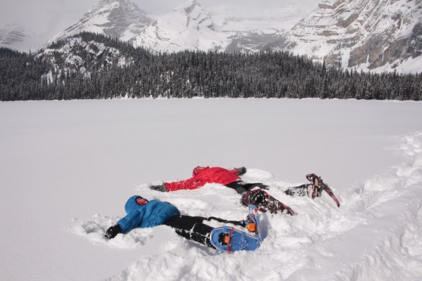 Teaching my son how to have fun on snowshoes