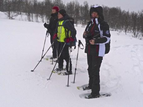 Kinga Leszczak (centre) leads us through the birch trees of Tromsøya Island