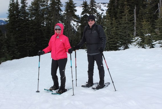 Pam and Jim Knight of Bainbridge Island, Wash. enjoy snowshoeing at Hurricane Ridge.