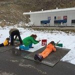 Kids take aim on the Olympic biathlon course.