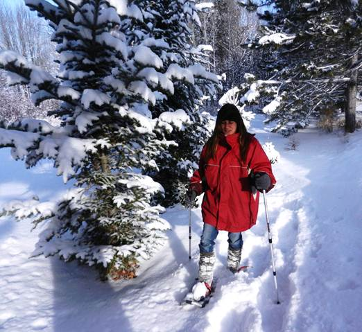 Snowshoeing with dual trekking poles