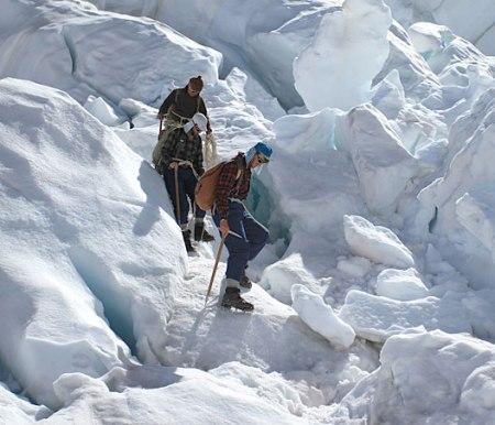 sir edmund hillary climbing down icefall everest