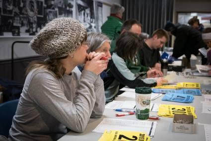 CORBA volunteers handling registration for Juniors and Senior racers