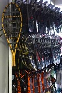 Snowshoeing is rising in popularity in Norway. Snowshoes inside Tromsø Outdoor.