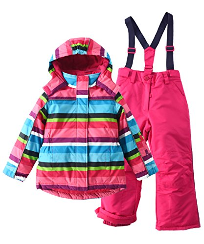 Girls Pink Insulated Snowsuit Set with Jacket and Snow Bib Pant