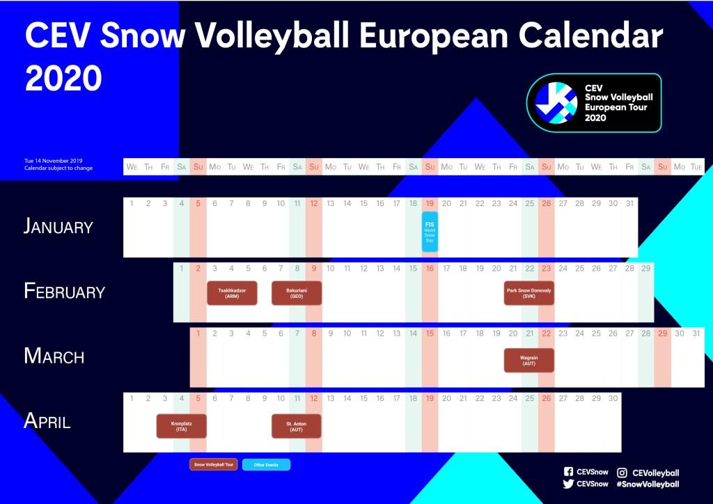 Calendario CEV Snow Volleyball European Tour 2020