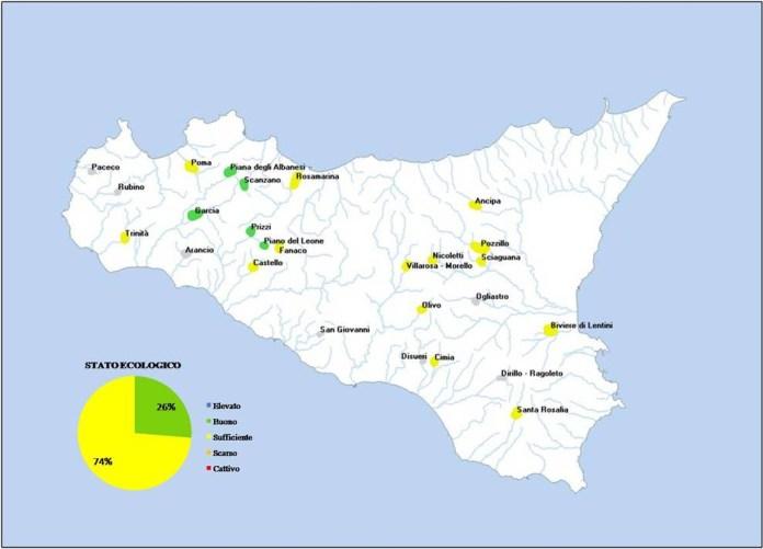 Stato Ecologico degli invasi monitorati dal 2011 al 2017 in Sicilia