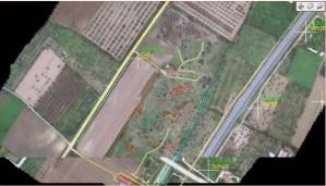 volo drone per individuare rifiuti interrati