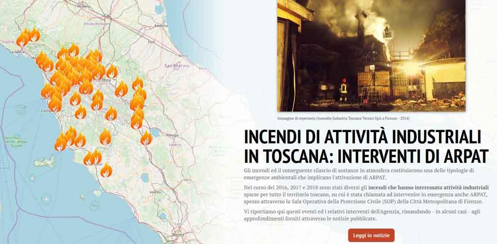 la story map degli incendi in Toscana 2016-2019