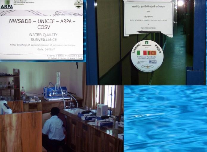 Missione in Sri Lanka, per la formazione del personale per l'uso dei laboratori fissi e mobili per l'analisi delle acque realizzati grazie ai fondi di Regione Lombardia, dopo il maremoto del 2007