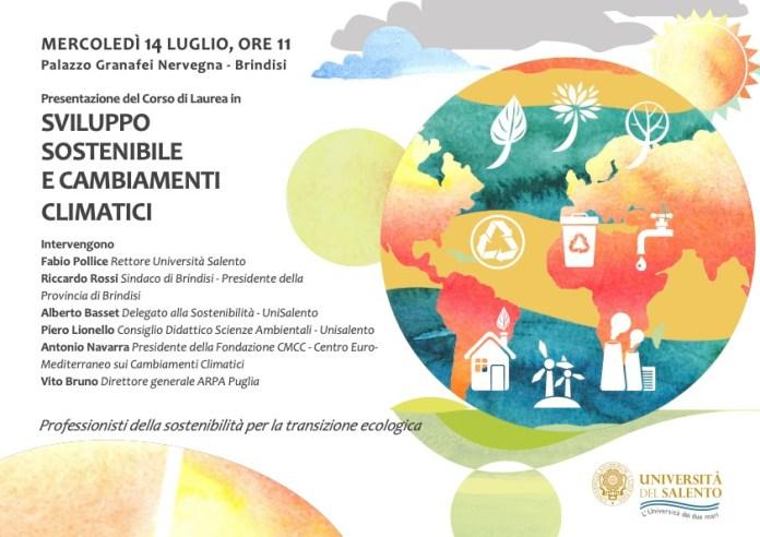 """Presentazione del corso di Laurea """"Sviluppo sostenibile e cambiamenti climatici"""" dell'Università del Salento"""