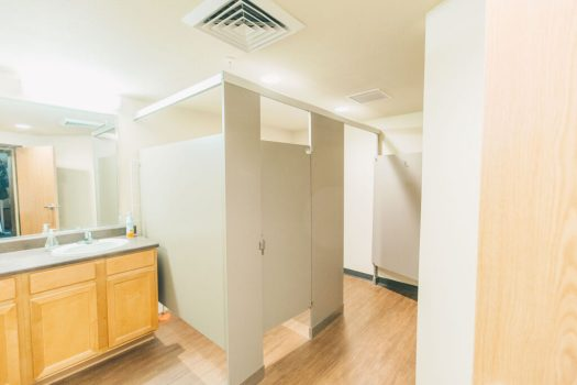 Toilet stalls inside Hills Dorm