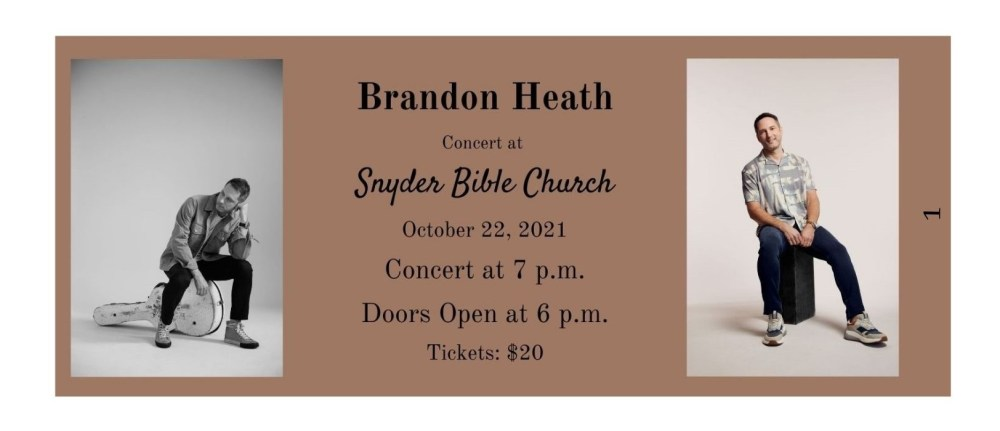 Brandon Heath Concert at Snyder Bible Church