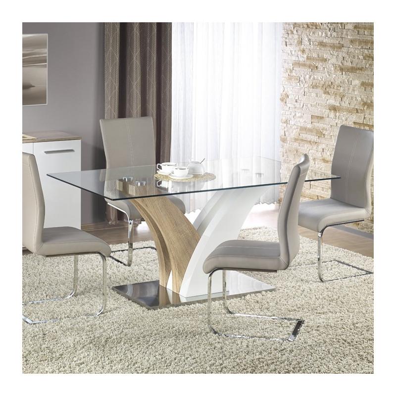 table de salle a manger blanche et bois valmo