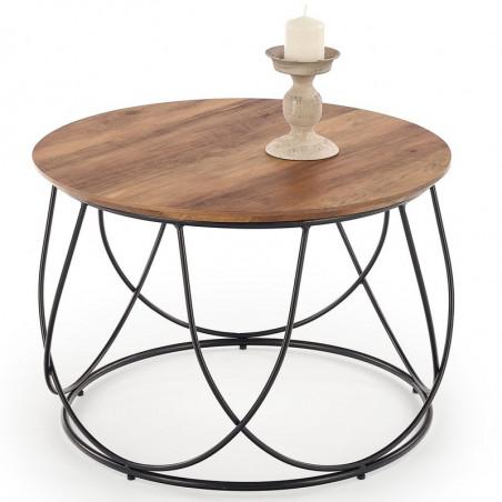 table basse ronde avec plateau rond diametre 60 cm et structure design en acier noir bocage