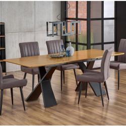 table de salle a manger extensible avec pieds design en acier noir et plateau aspect chene detroit