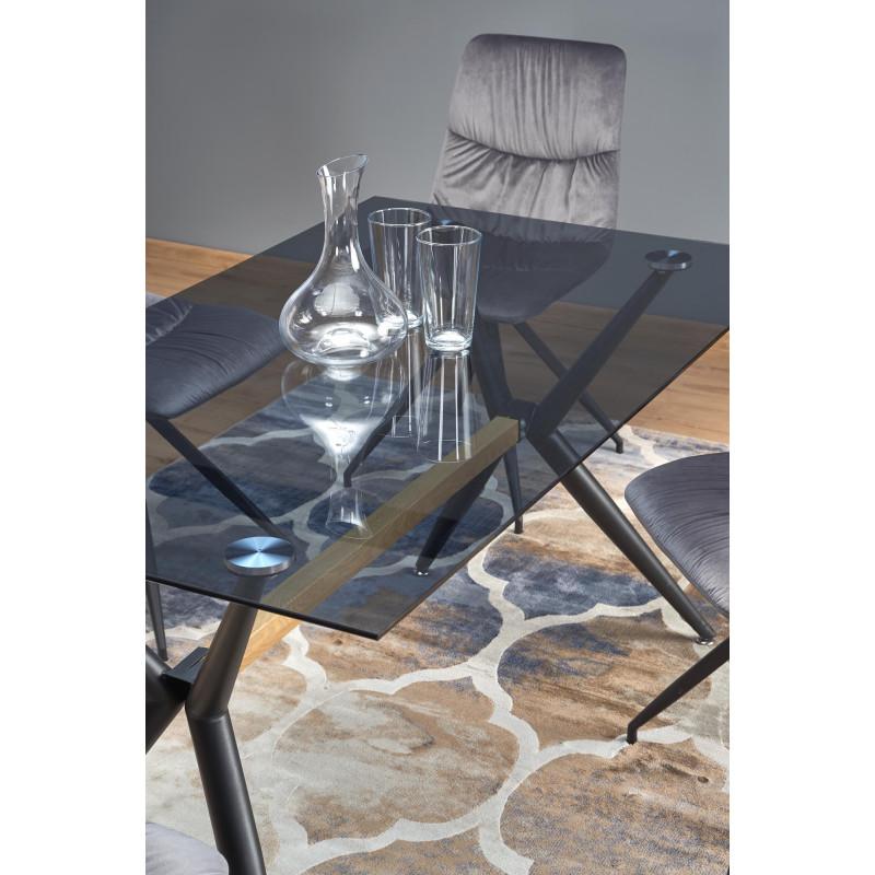 table de salle a manger 140 x 80 avec plateau en verre fume et pieds design en acier noir rocket