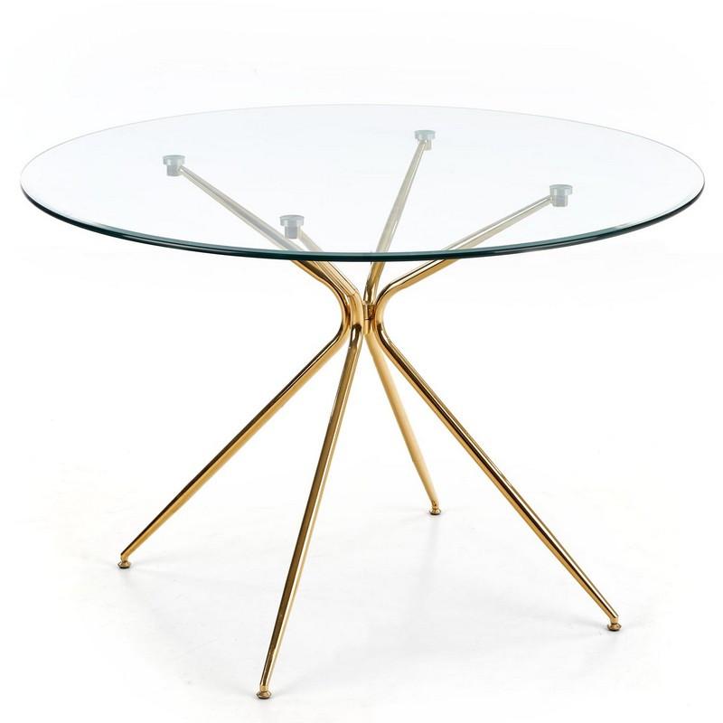 table de salle a manger ronde avec plateau verre de 110cm et pied metal dore around