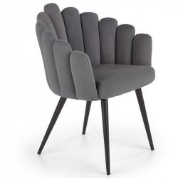 chaise de salle a manger design en velours gris avec pieds en acier noir amboise