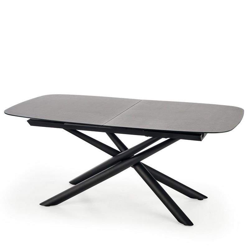 table de salle a manger extensible avec plateau en verre gris fonce et pied central design en acier noir chambord
