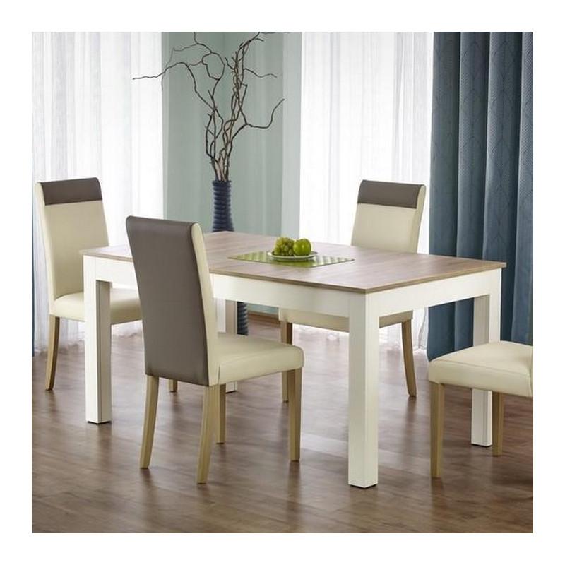 table salle a manger 160 300 90 76cm bois et blanc melino