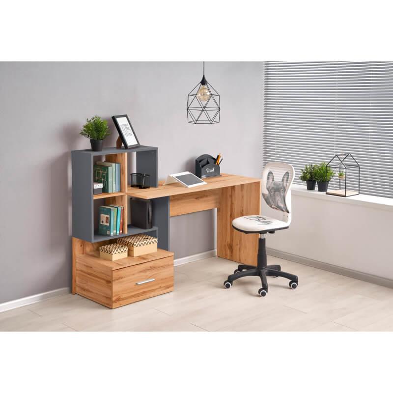 bureau gris anthracite et aspect chene avec grand tiroir et etageres stand