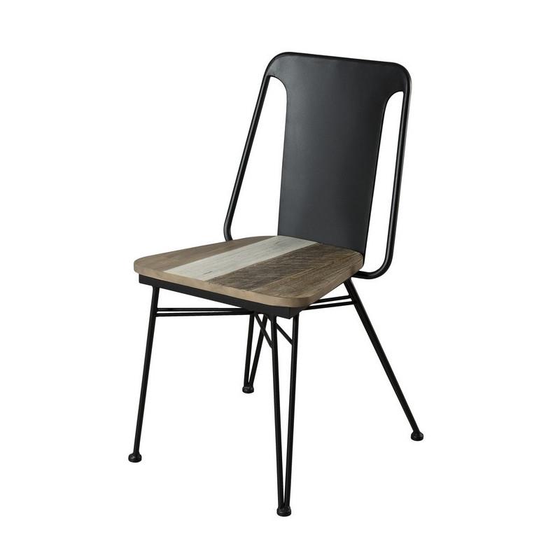 chaise bois massif et metal noir style atelier alice