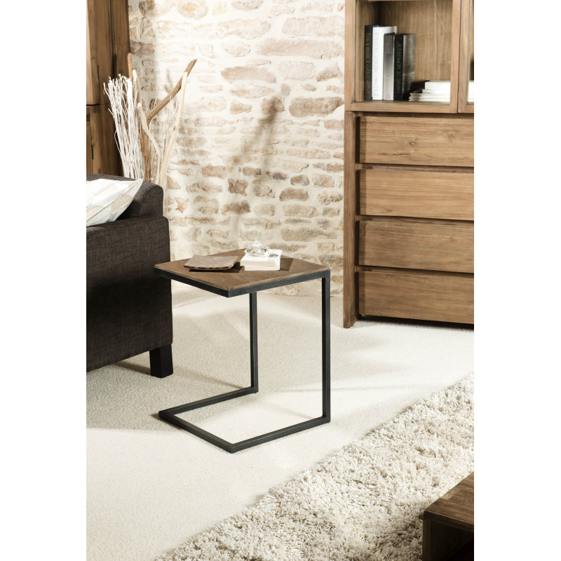 Table Dappoint Bois Teck Pieds Mtal 40x40cm Tinesixe