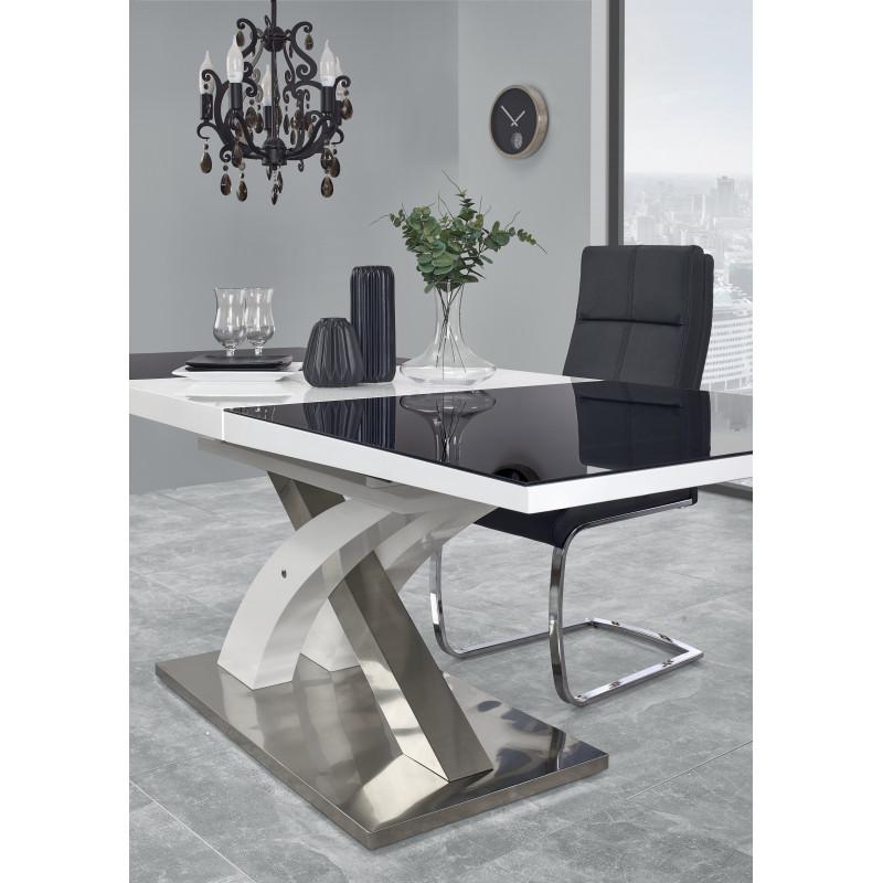 table a manger design noir et blanc avec rallonge cesar