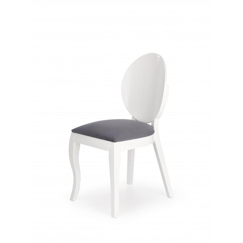 chaise medaillon moderne blanche et gris vilta