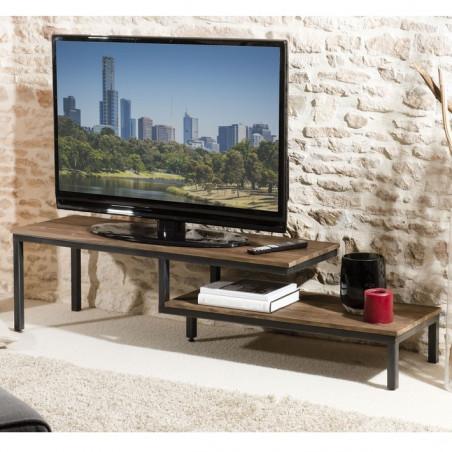 meuble tv 2 tablettes bois teck pieds metal 161x40cm tinesixe