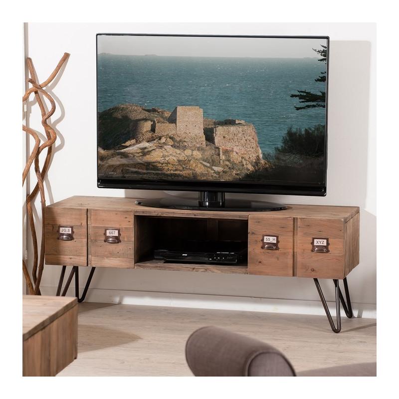 meuble tv industriel metal et bois orianne