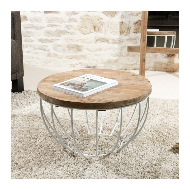 Table Basse Ronde Blanche 60x60cm TINESIXE