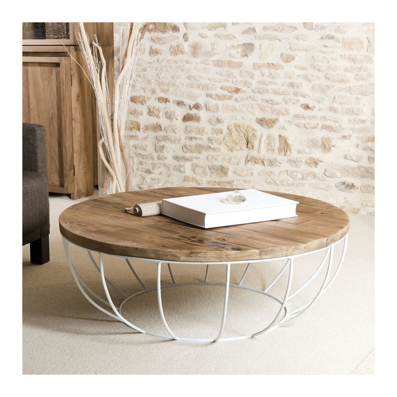table basse ronde bois pied blanc 100cm tinesixe