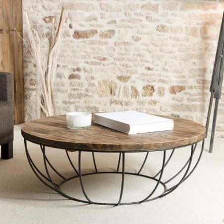 table basse ronde bois et metal noir 100cm tinesixe
