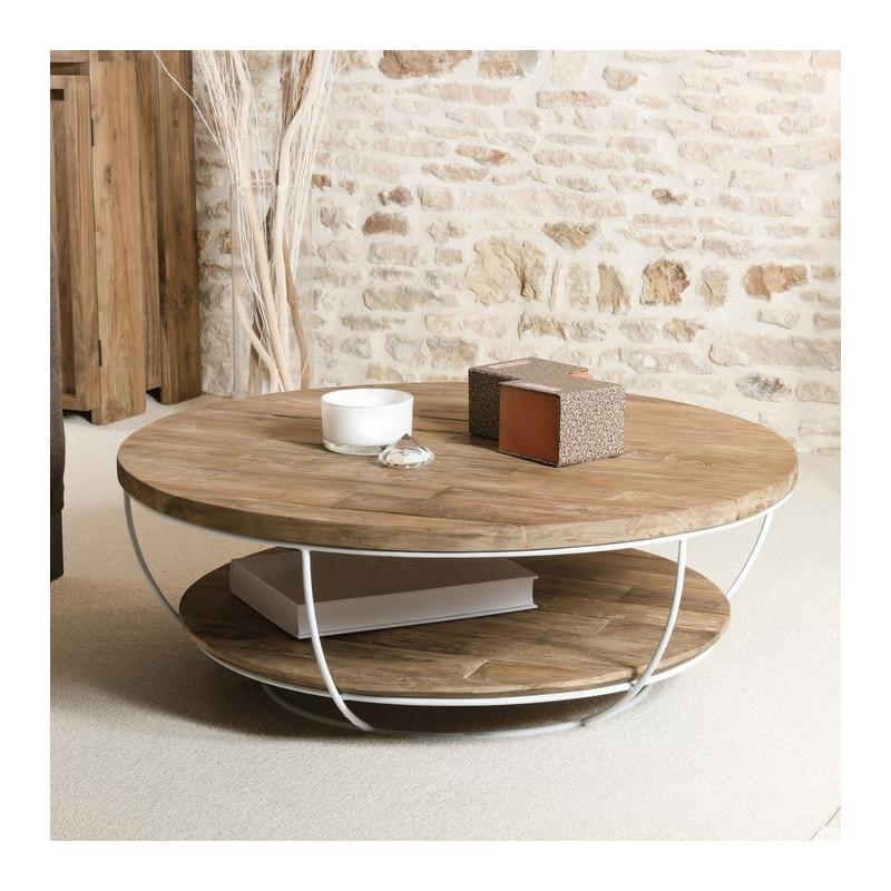 table basse ronde bois et metal blanc 100cm tinesixe