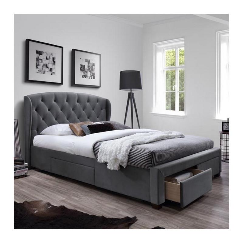 lit capitonne tissu gris avec sommier et rangements rosalie