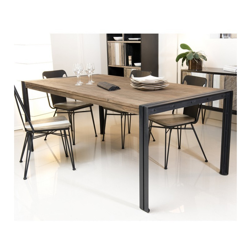 table a manger bois teck pieds metal 200x100cm tinesixe
