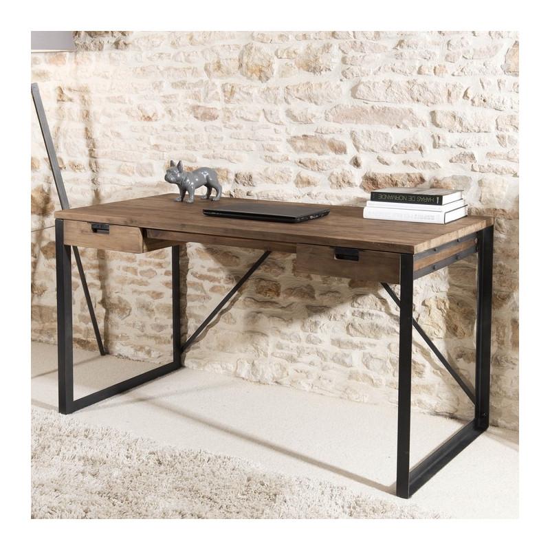 bureau 2 tiroirs bois teck pieds metal 140x70cm tinesixe