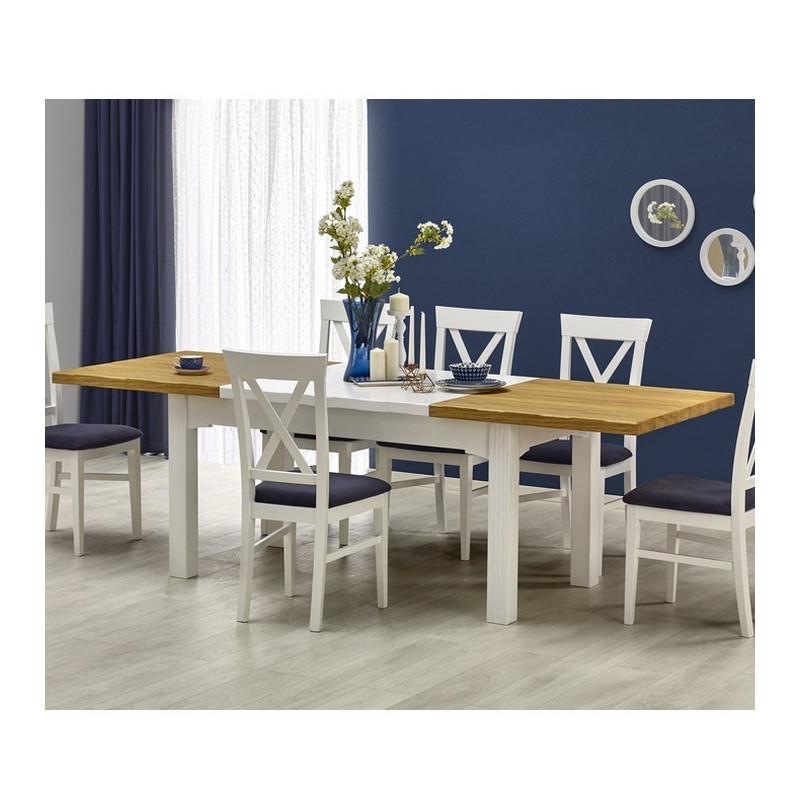 table a manger blanche et bois extensible 160 250cm donna